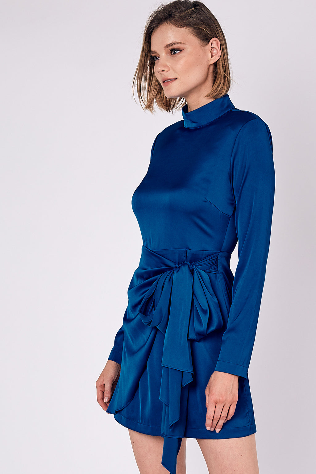 Glow Up Satin Wrap Dress - Royal Blue