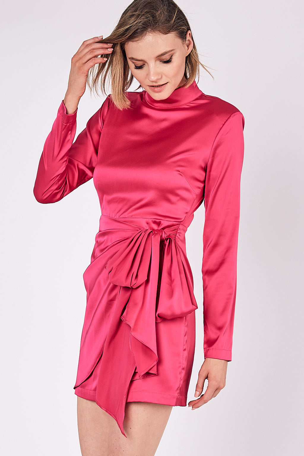 Glow Up Satin Wrap Dress - Hot Pink
