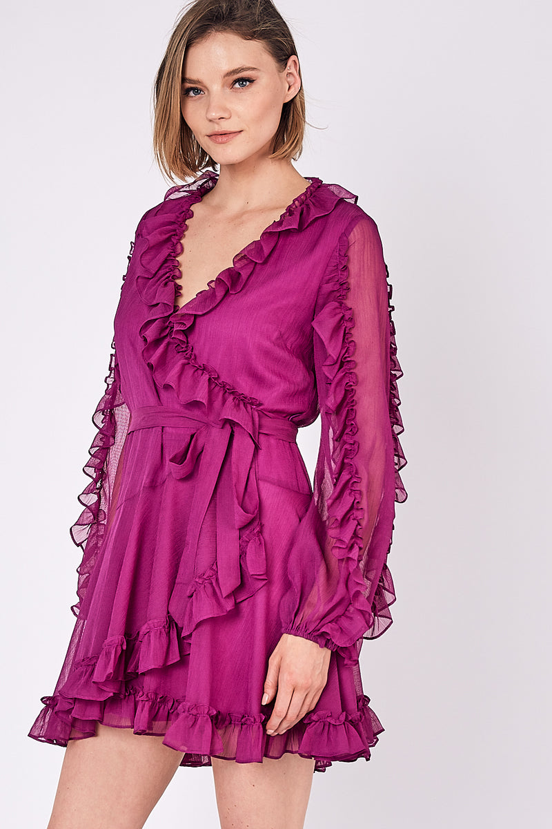 Celeste Ruffle Wrap Dress - Berry