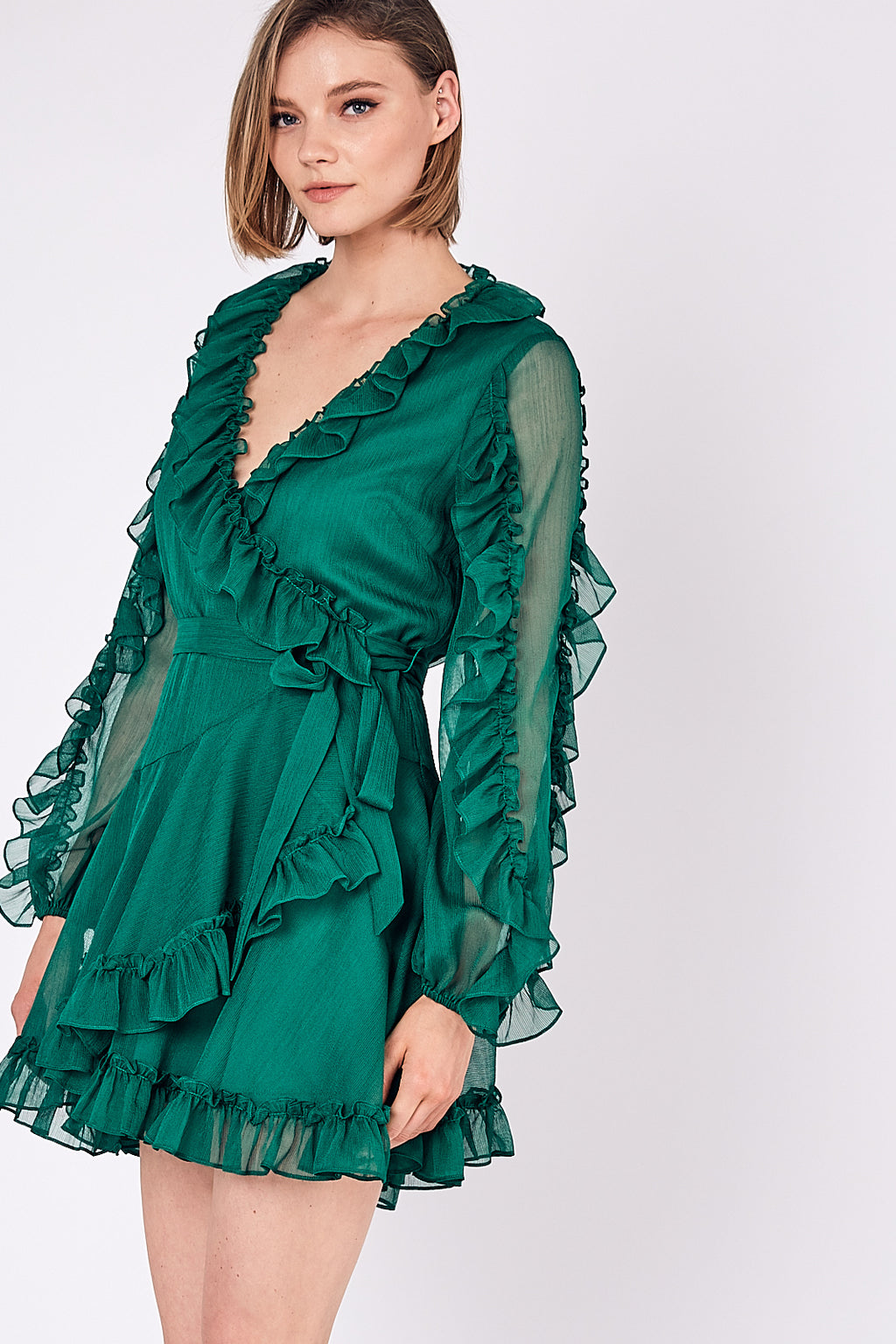 Celeste Ruffle Wrap Dress - Green