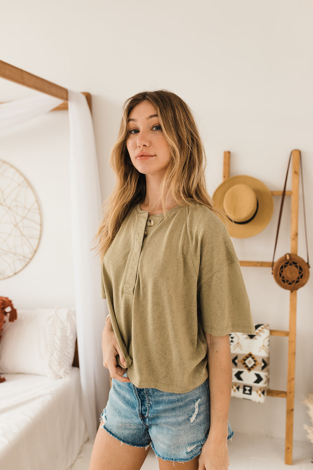 Drew Cotton Relaxed Button Down Tee - Olive