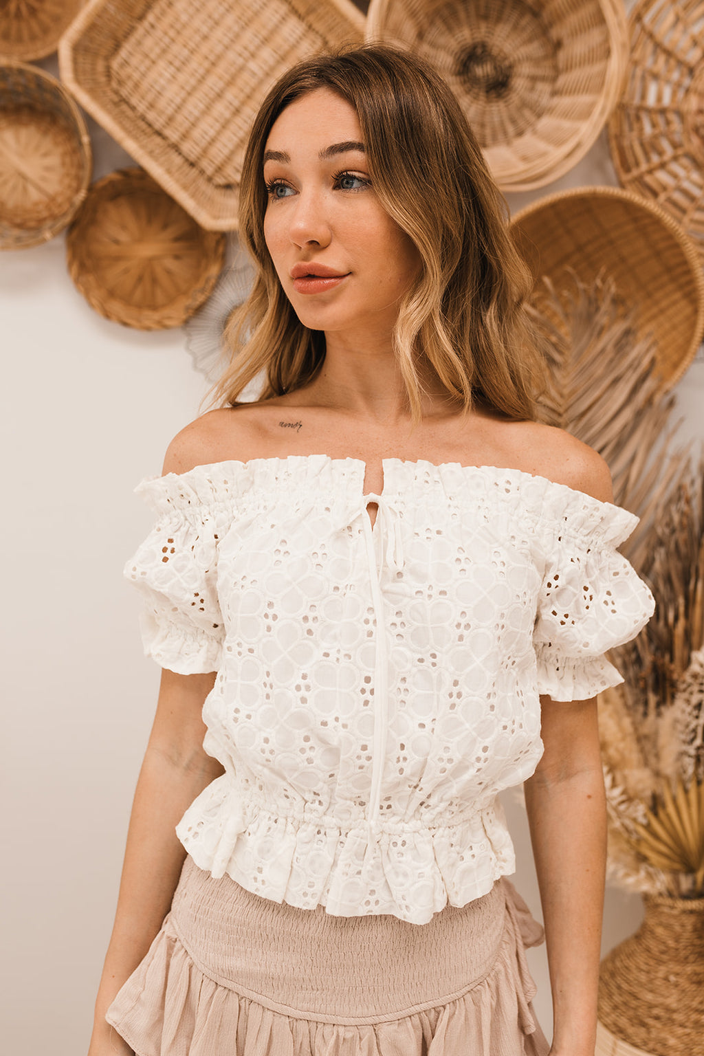 Cruz Eyelet Off The Shoulder Crop Top