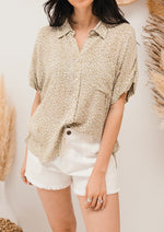 Meika Leopard Button Down Blouse