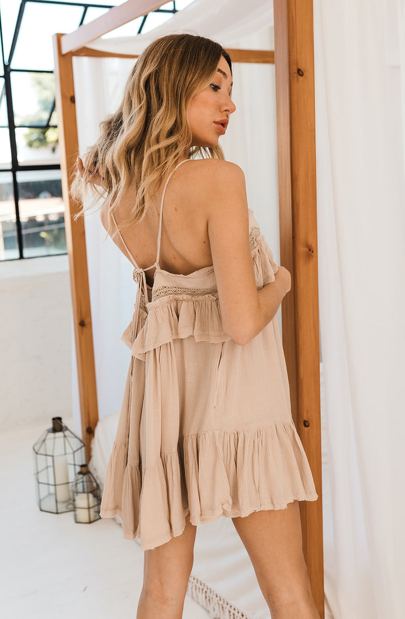 Lynda Crochet Lace Romper - Natural