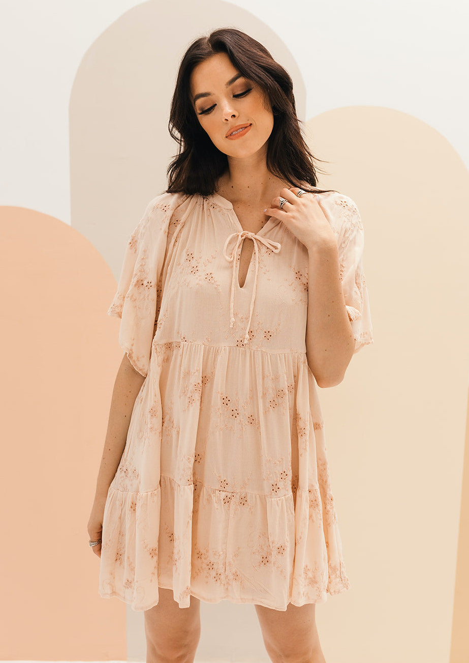Bernadine Eyelet Babydoll Embroidery Dress