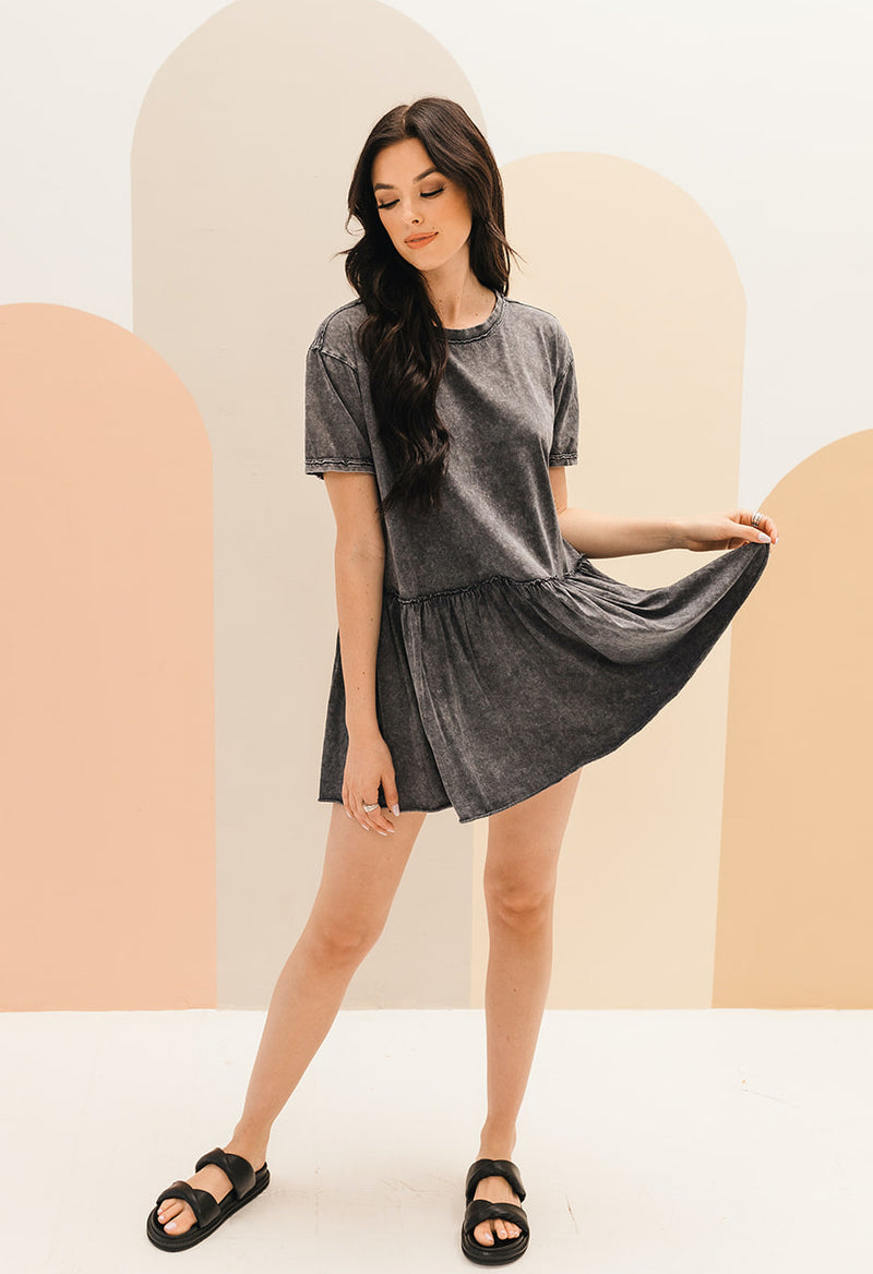 Grant Cotton Mineral Wash Babydoll Dress - Charcoal