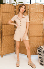 Florence Cotton Collared Ribbed Romper