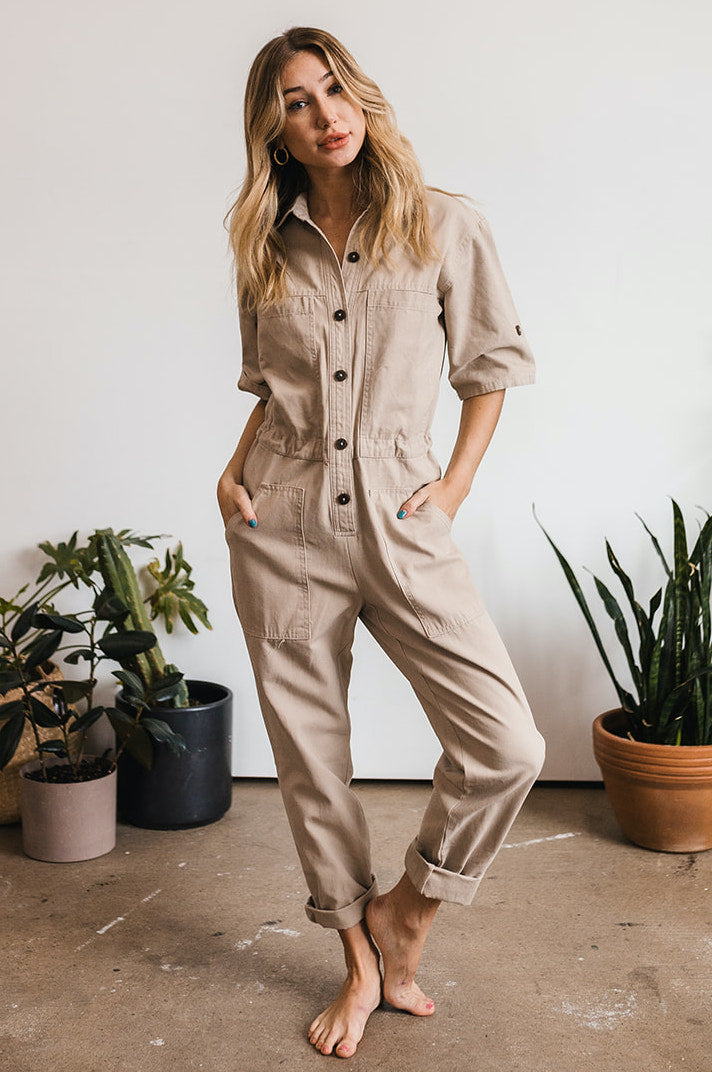 Tribeca Cotton Pocketed Utility Jumpsuit - Taupe