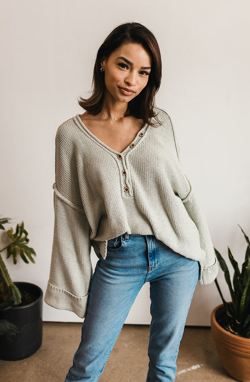 Ann Cotton Knit Henley Sweater