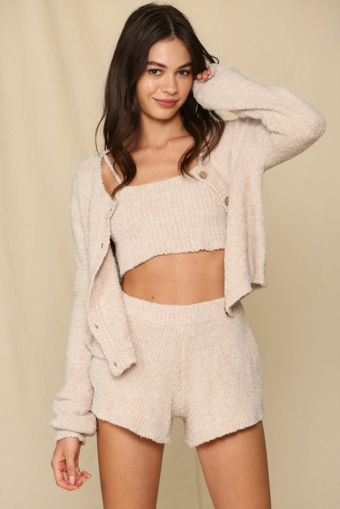 Dreamy Button Front Cardigan - Taupe