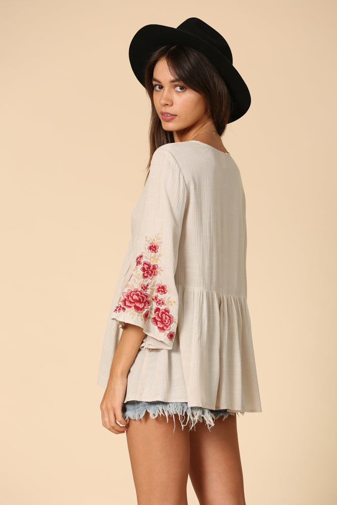 Maple Sun Embroidered Top