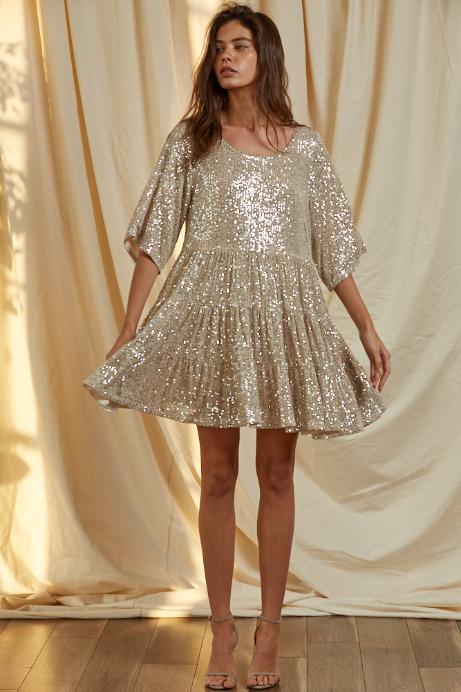 Set Your Sights Sequin Babydoll Dress