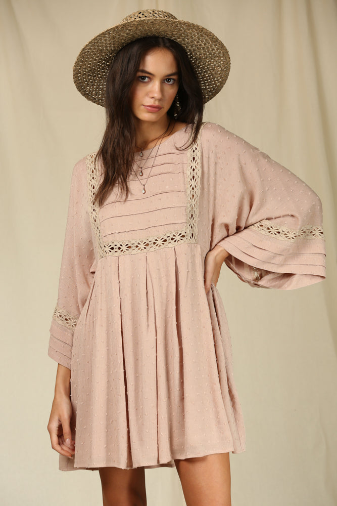 Maple Sun Embroidery Kimono Dress