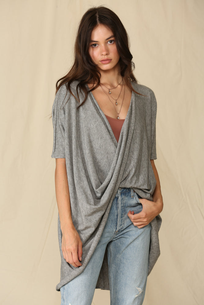 Josephine Twist Front Knit Top - Grey