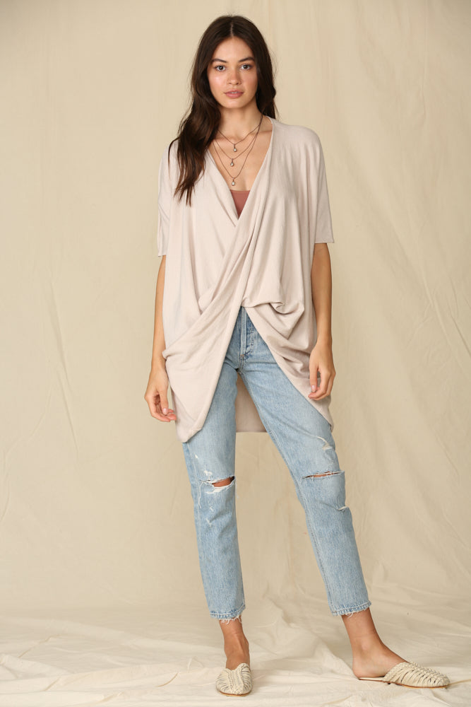 Josephine Twist Front Knit Top - Natural