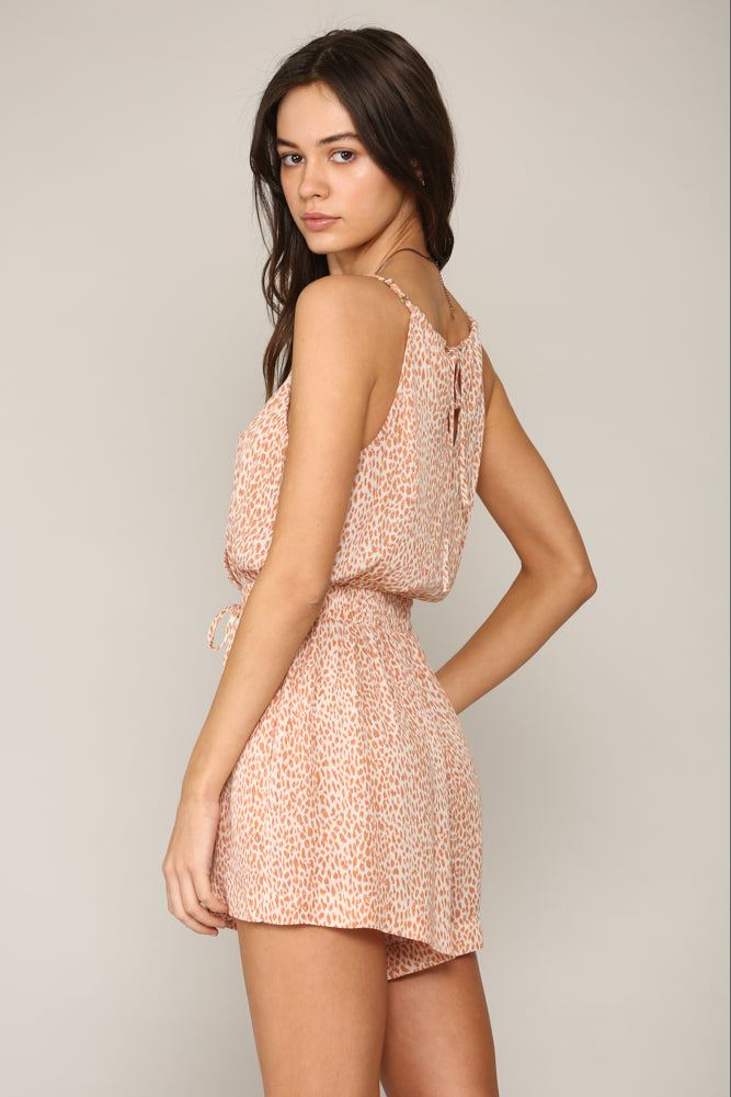 Ignition Leopard Romper - Coral
