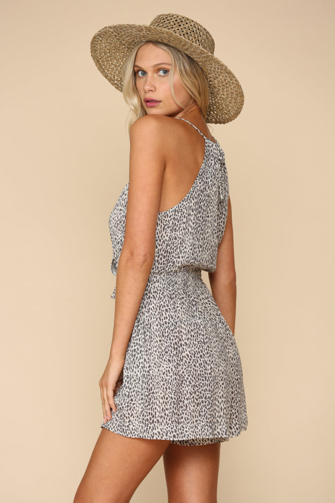 Ignition Leopard Romper - Grey