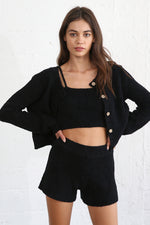 Dreamy Button Front Cardigan - Black