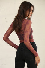 Sweet Mary Sheer Lace Top - Dark Mauve