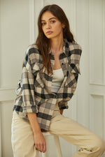 Kourt Cotton Pocketed Plaid Top