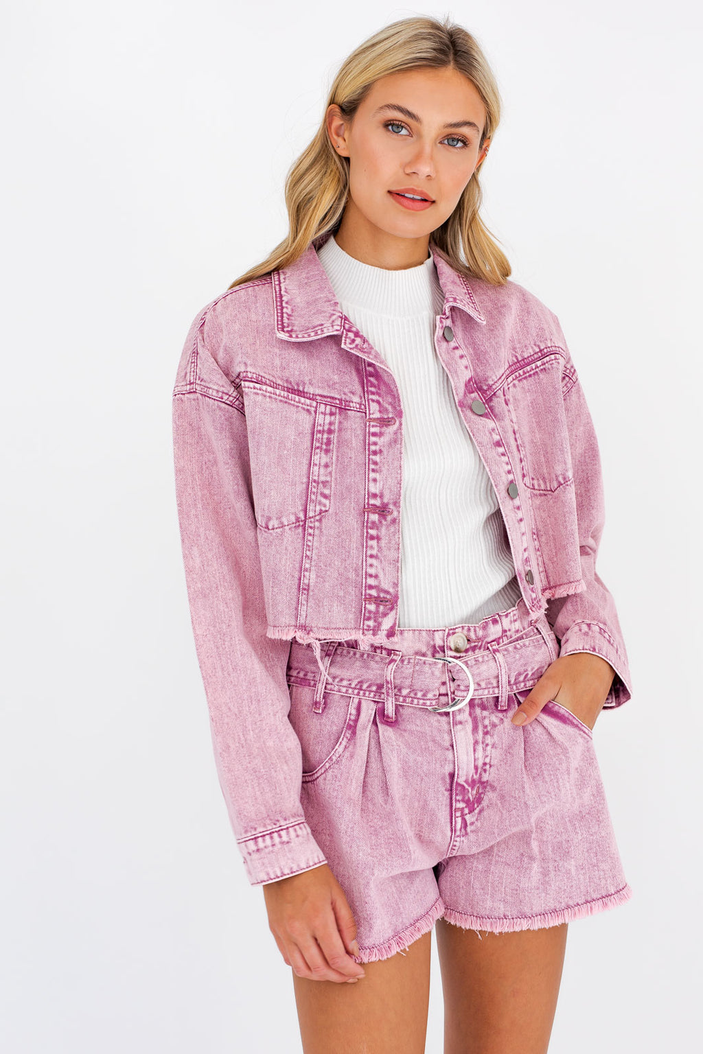 Lizzie Acid Wash Crop Trucker Jacket