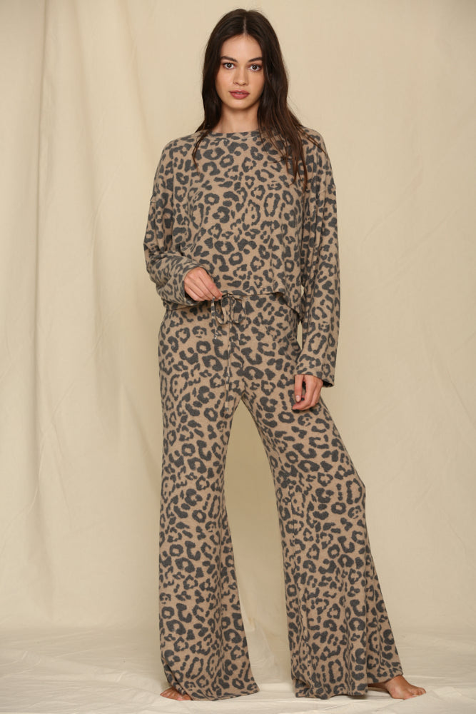 Nikita Leopard High Rise Flared Fleece Pants