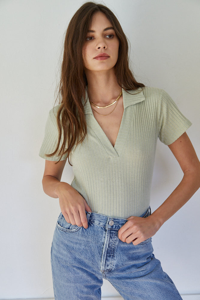 Duke Collared Ribbed Top