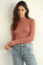Toronto Seamless Ribbed Mock Neck Top - Ginger