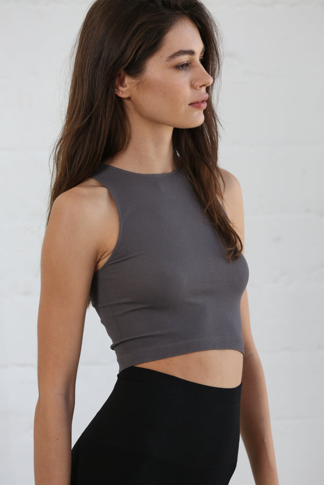 Crew Neck Crop Top - Charcoal