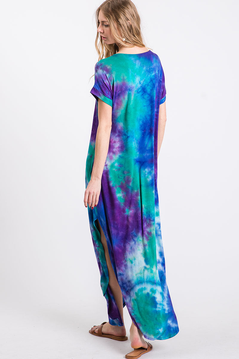 Tie Dye Pocketed Maxi Dress