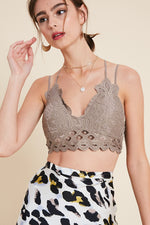 Cassie Padded Lace Bralette - Cocoa