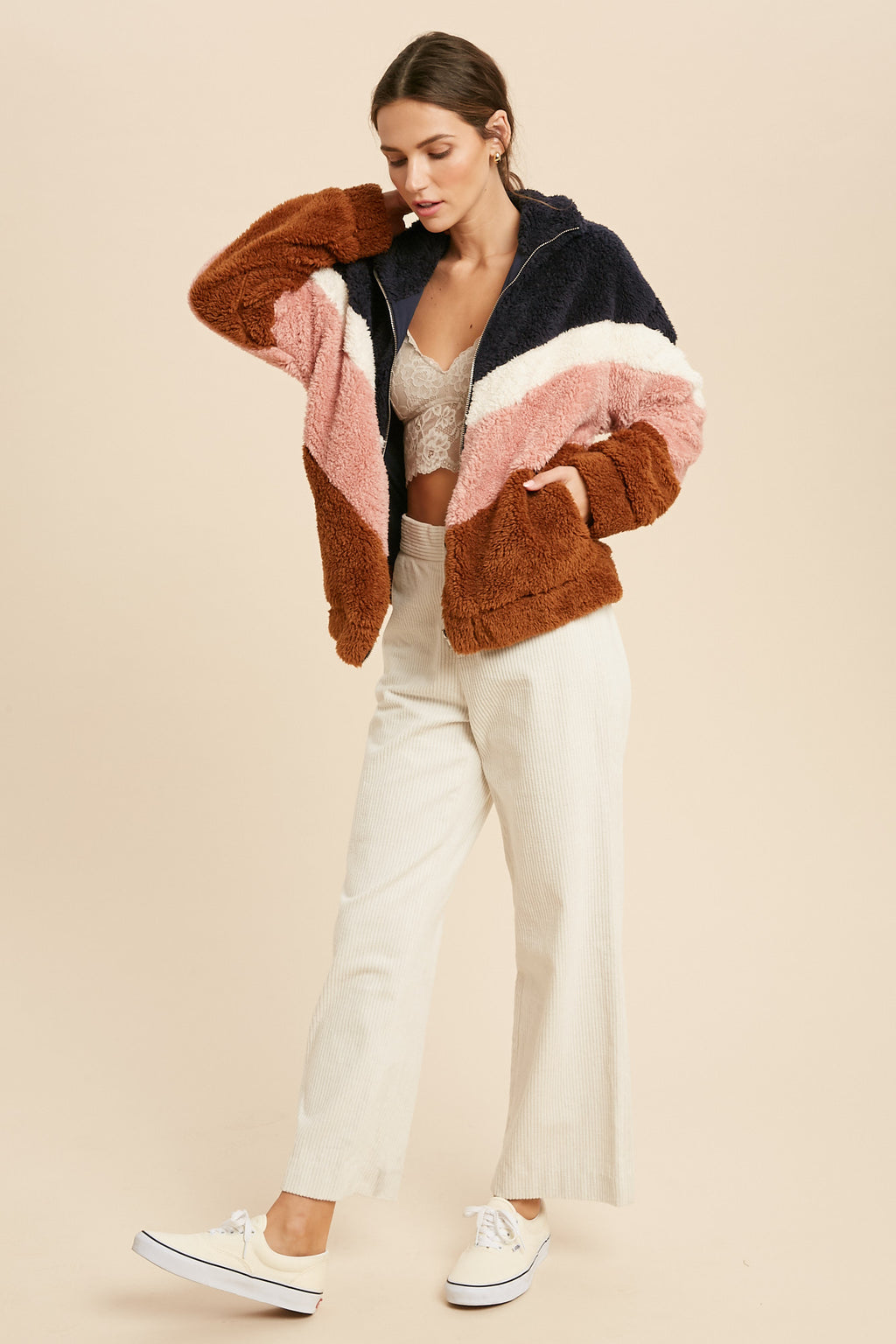 Silo Pocketed Faux Fur Chevron Jacket