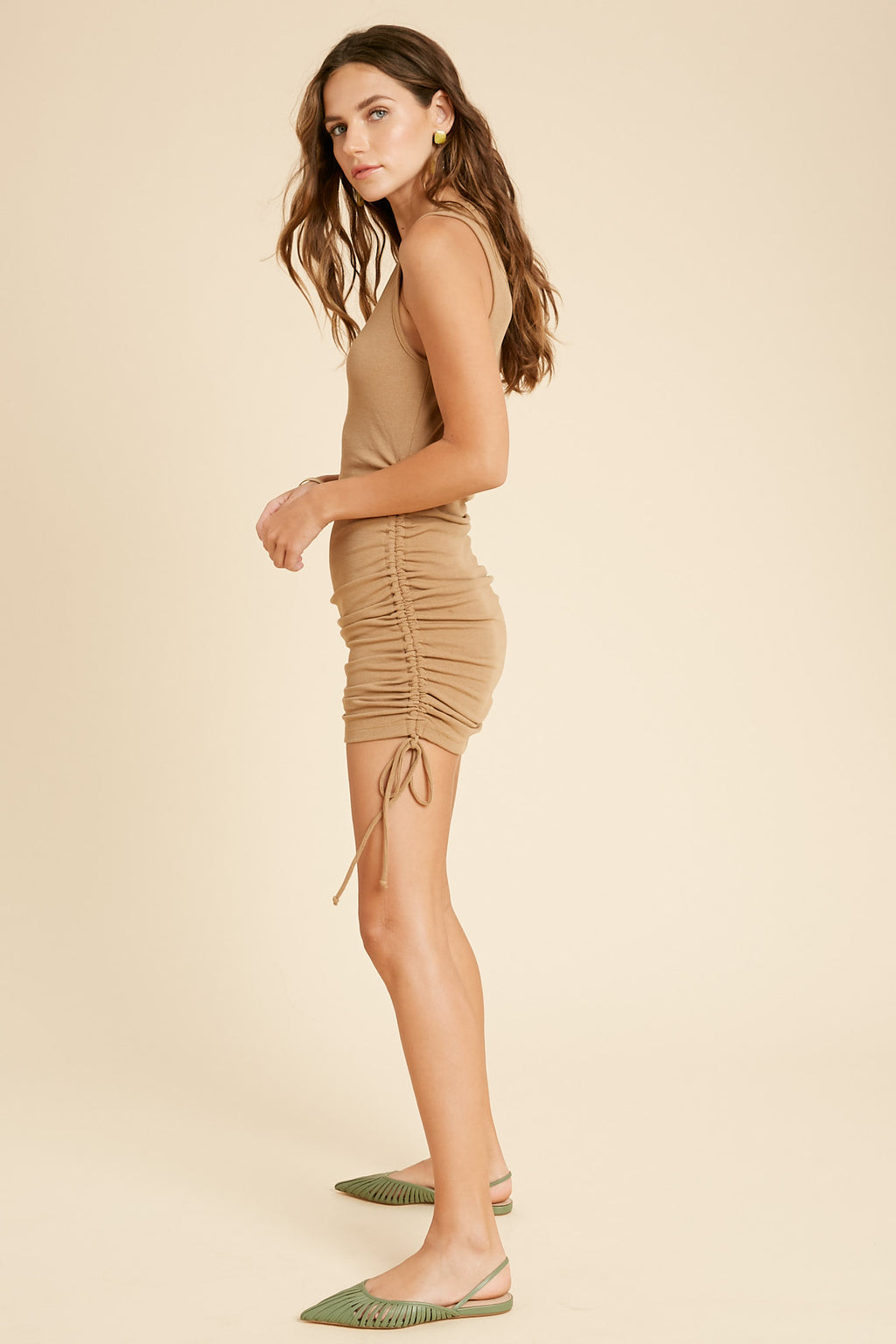 Addison Ruched Knit Dress - Camel