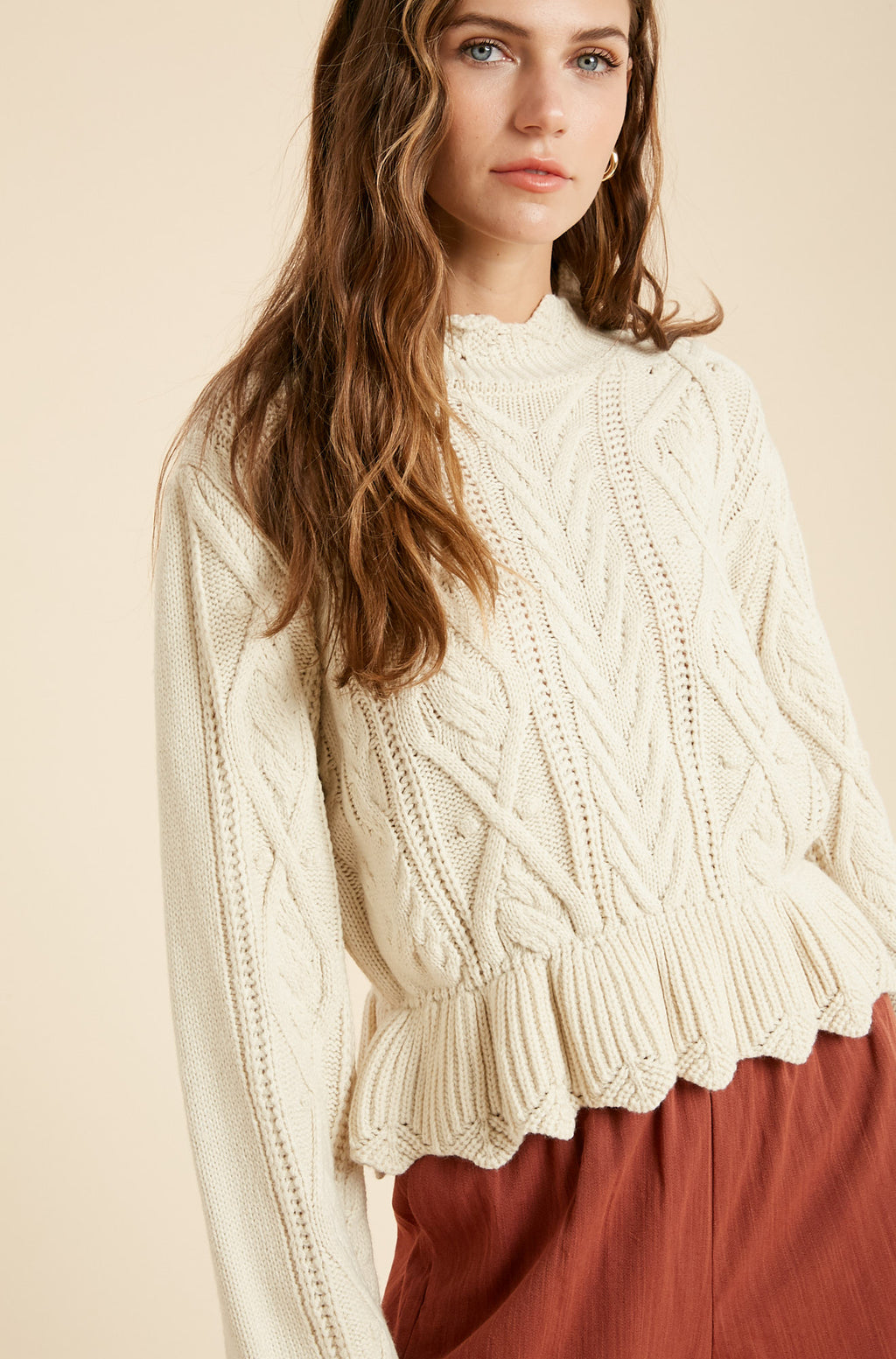 Lauryn Cable Knit Peplum Sweater