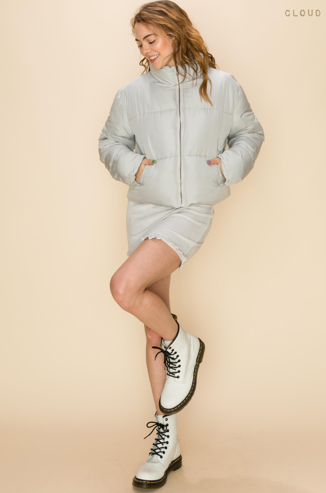 Olivia Pocketed Puffer Jacket - Cloud