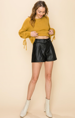 Adriana Faux Leather Shorts - Black