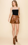 Adriana Faux Leather Shorts - Brown