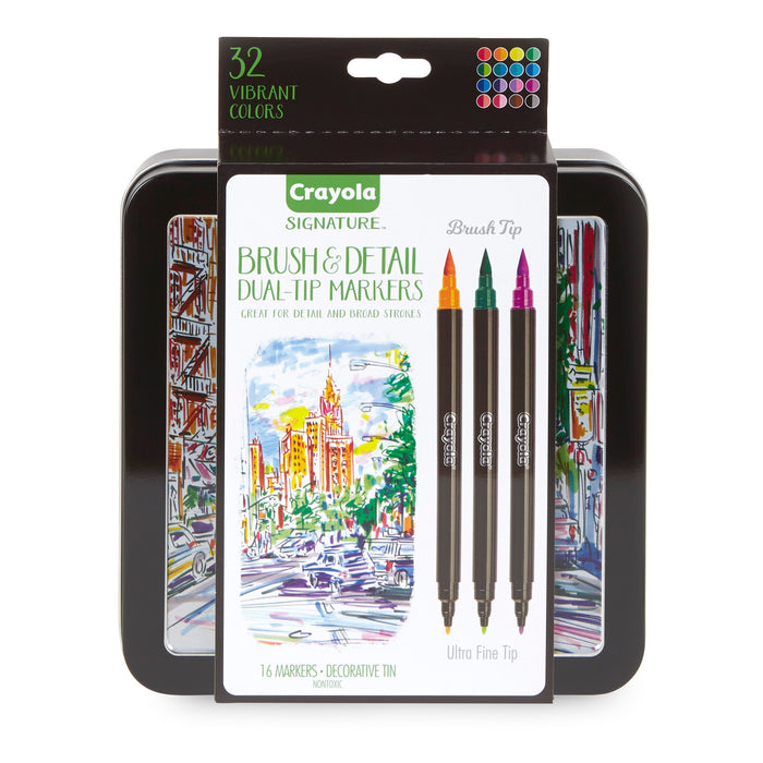 16ct Brush & Detail Markers Dual-tip