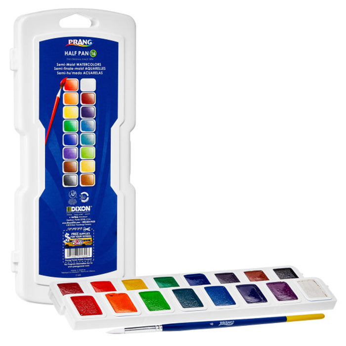 Half Pan Watercolors 16 Colors W-brush Prang