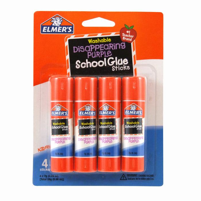 Elmers 4pk School Purple Glue Sticks Disappearing Washable