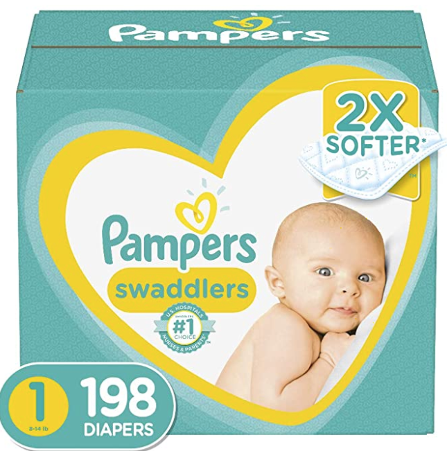 Pampers Newborn/Size 1 Diapers, 198 Count