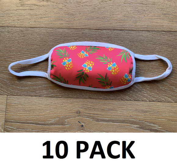 10 PACK - Hawaiian Pineapple - Washable - Multi-Color Design Face Covering ($7.50 RETAIL - $4.50/MASK FOR CRA)