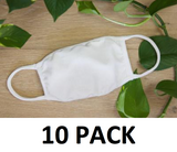 10 PACK - White - Washable - No Design Face Covering ($7.25 RETAIL - $4.25/MASK FOR CRA)