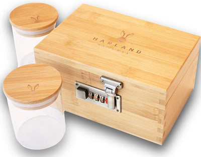 Harland Reserve Stash Box Combination - Accessories Kit, Locking Wooden Box with Smell Proof Glass Jar, Bamboo Box with Combo Lock (Clear Stain)
