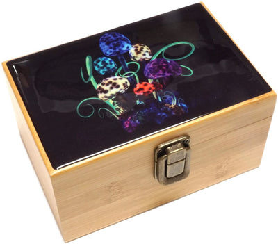 Cali Factory Mushroom Design - Grinder, Jar in Medium Size Sacred Geometry Stash Box with Latch Combo Gift Package Item# MED062118-5