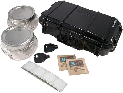 Safe Locker 420- Stash Box is a Personal Bulk stash Container. Lockable Smell Proof case Combined with Glass Mason Jars and Humidity Packs for a Complete herb Storage Solution. (Jet Black)