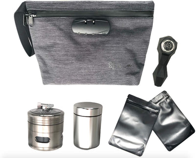 Smell Proof Bag, Herb/Spices Grinder, Airtight Stash Jar and Unbreakable Silicone Straws Bundle