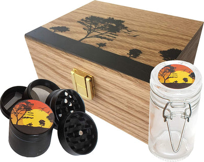 StashAM Stash Box Combo with Grinder - Includes Zinc Alloy 4 Part Herb Grinder, Smell Proof Airtight Glass Stash Jar & Embossed Wood Stash Box