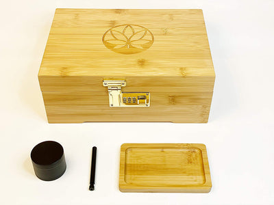 Premium Bamboo Stash Box with Combination Lock Gift Set for Tobacco or Keepsakes. Comes with Rolling Tray, and 4 Piece herb Tobacco Grinder