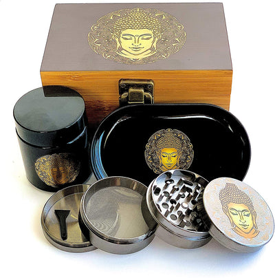 Buddha Stash Box Combo – First-Class Bamboo Wood Herb Box Including All Accessories, Key Lock, Premium Grinder, Smell Proof UV Jar for Your Herbs, and a Matching Rolling Tray